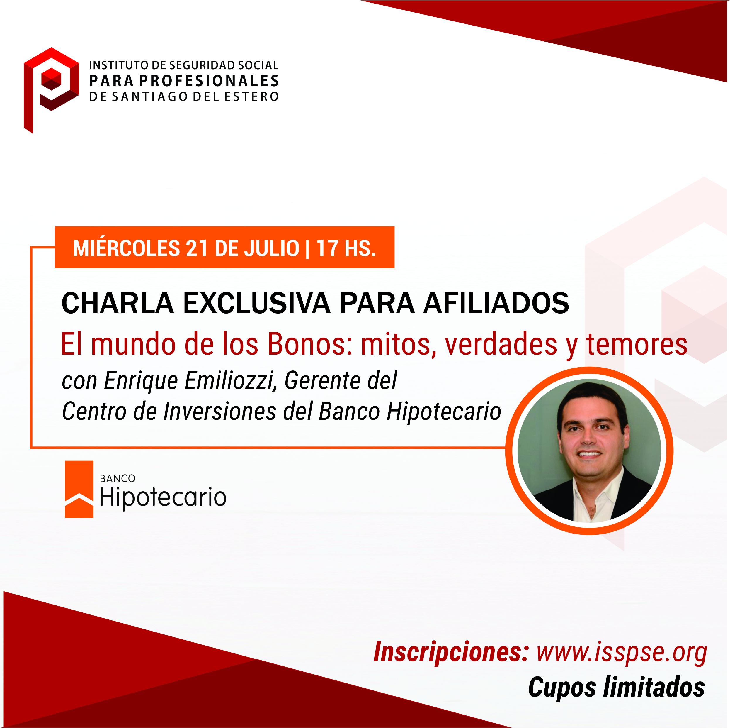 El ISSPSE y el Banco Hipotecario realizarán seminario virtual sobre el mundo de los bonos